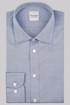 Hardy Amies Slim Fit Navy Single Cuff Textured Shirt