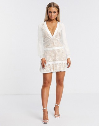 For Love & Lemons bright lights long sleeve miniwhite