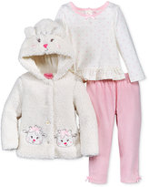 Nannette Baby Girls' 3-Pc. Faux Fur Lamb Hoodie, Top & Velour Leggings Set