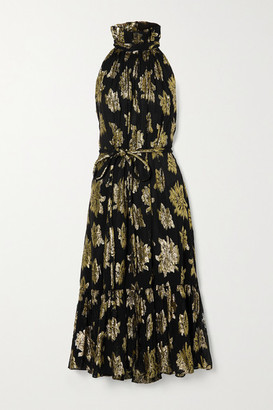 IRO Laza Belted Metallic Fil Coupe Voile Midi Dress - Black