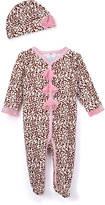 Baby Essentials Pink & Tan Leopard Footie & Beanie - Infant