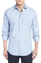 Thomas Dean Men's Classic Fit Dot Print Sport Shirt
