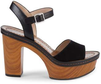 BCBGeneration Zina Leather & Suede Ankle-Strap Heeled Sandals