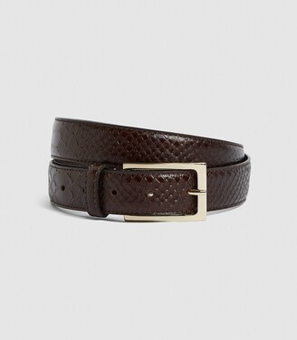 Reiss Exotic - Leather Croc Patterned Belt in Brown