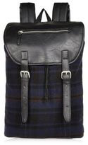 River Island Navy Check Buckle Backpack