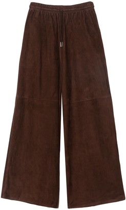 Co Wide Leg Suede Pant in Brown