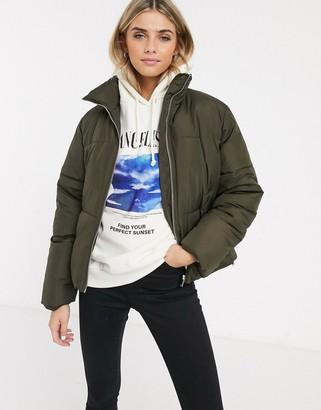 New Look boxy puffer jacket in khaki