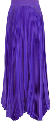 Alice + Olivia Katz Pleated Silk-blend Lame-jacquard Maxi Skirt