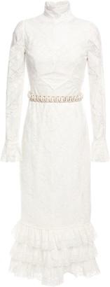 Zimmermann Veneto Embellished Ruffle-trimmed Guipure-lace Midi Dress