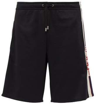 Gucci Logo-stripe And Push-stud Jersey Shorts - Mens - Black White