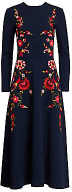 Oscar de la Renta Women's Geofloral Embroidered Crepe Midi Dress