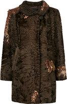 Liska - sequin embroidery coat - women - Persian Lamb Fur - One Size