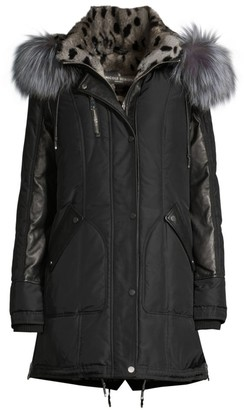 Nicole Benisti Chelsea Rabbit & Fox Fur Down Parka Coat