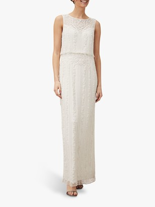 Phase Eight Evalina Embellished Wedding Dress, Pale Cream