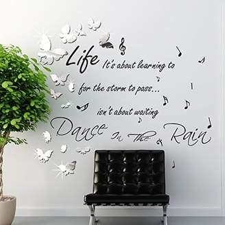 Walplus WSM2057 14 Mirror Butterflies Plus WS4003 Dance in The Rain Wall Art Murals Nursery Office Home Decoration