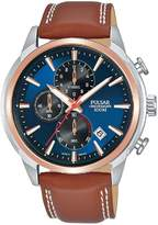 Pulsar Pulsar Blue Sunray and Rose Gold Detail Chronograph Dial Tan Leather Strap Mens Watch