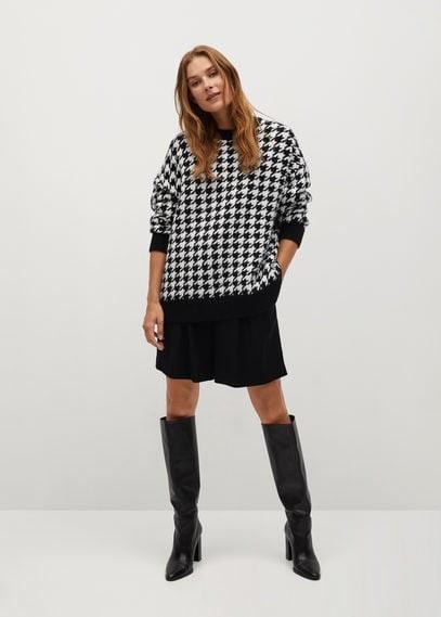 MANGO Houndstooth knit sweater