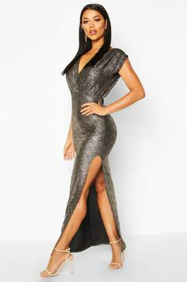 boohoo Metallic Wrap Front Maxi Dress