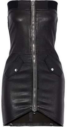 RtA Kenzie Strapless Zip-detailed Leather Mini Dress