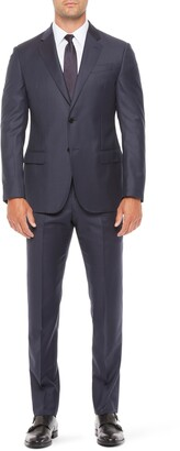 Emporio Armani G Line Trim Fit Check Solid Wool Suit