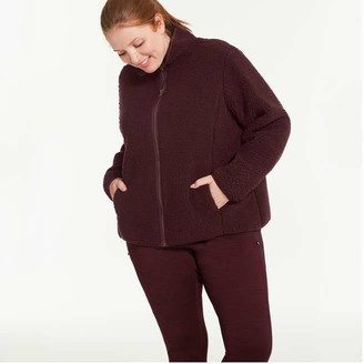 Joe Fresh Women+ Sherpa Jacket, Burgundy (Size 2X)