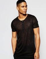 Asos Loungewear Grandad T-shirt In Black Slub Fabric