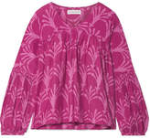 Apiece Apart Izza Wabi Printed Cotton And Silk-blend Top - Pink