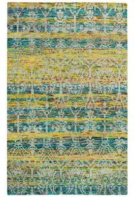 """Capel Rugs Round About Acrobat Hand-Knotted Banana Area Rug Capel Rugs Rug Size: 3'6"""" x 5'6"""""""