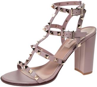Valentino Beige Leather Rockstud Block Heel Cage Ankle Strap Sandals Size 38