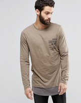 Asos Longline Long Sleeve T-Shirt With Chest Print And Contrast Double Layer Effect