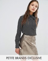 Fashion Union Petite Drew Tie Neck Blouse In Polka Print