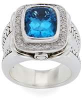 Scott Kay 925 Sterling Silver Diamonds & Blue Topaz Ring Size 6.5