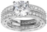 Journee Collection 10 1/3 CT. T.W. Round-cut CZ Basket Set Polished Wedding Ring Set in Sterling Silver