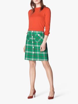 LK Bennett Lowri Check Tweed Mini Skirt, Green/Multi