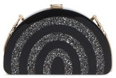 Milly Stripe Half Moon Box Clutch - Black