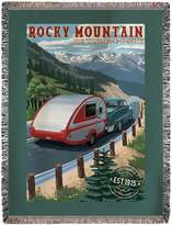 Lantern Press Rocky Mountain National Park - Retro Camper - Rubber Stamp (60x80 Woven Chenille Yarn Blanket)