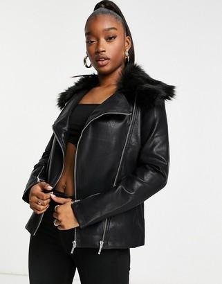 UNIQUE21 vinyl biker jacket in black