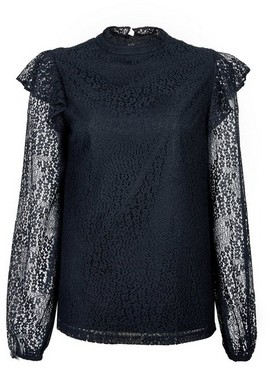 Dorothy Perkins Womens Tall Blue Ruffle Lace Blouse, Blue