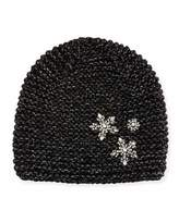 Jennifer Behr Metallic Snowflake Beanie Hat, Black Sparkle