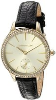 Karen Millen Women's Quartz Brass-Plated Stainless Steel and Leather Dress Watch, Color:Black (Model: KM112BGA)