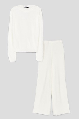 Nasty Gal Womens Love You Culotte Knit Jumper and Trousers Lounge Set - White - L