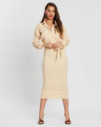 Missguided Ribbed Belted Midi Shirt Dress