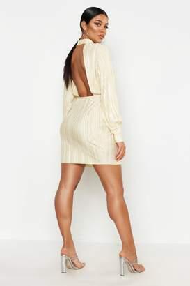 boohoo Plisse Blouson Sleeve Open Back Bodycon Dress