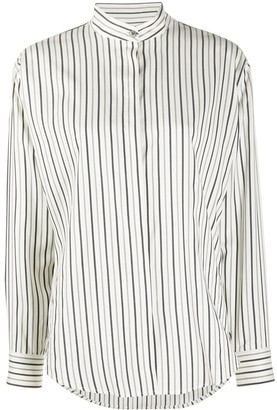 Isabel Marant Striped Collarless Silk Shirt