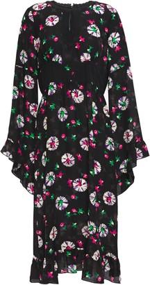 Anna Sui Ruffle-trimmed Printed Silk Crepe De Chine Midi Dress