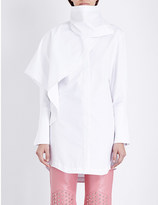 J.W.Anderson Draped-neck ruffled cotton-poplin shirt
