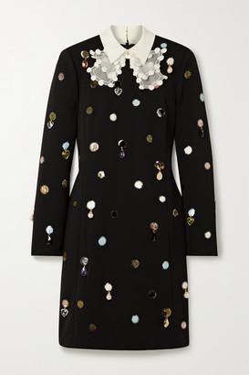 Tory Burch Silk Organza-trimmed Embellished Crepe Dress - Black