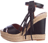 Valentino Fringe Accented Wedge Sandals
