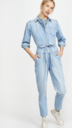 La Vie Rebecca Taylor Long Sleeve Drapey Denim Jumpsuit