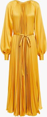 Oscar de la Renta Belted Pleated Satin-crepe Maxi Dress